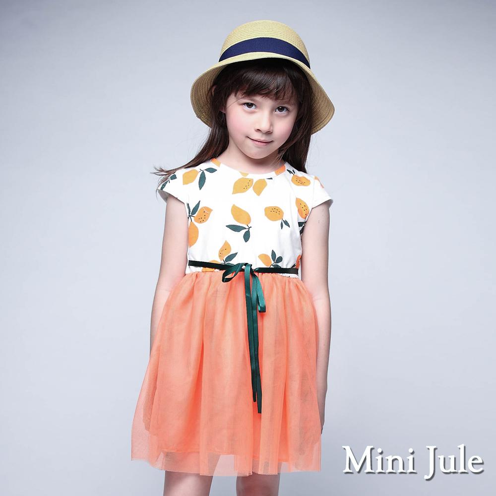 Mini Jule 洋裝 滿版檸檬綁帶網紗下擺洋裝(橘)