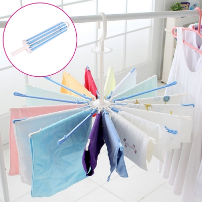 360度旋轉傘狀可折疊防風曬衣架 晾衣架 好收摺防掉落