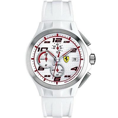 Scuderia Ferrari 法拉利 碳纖維三眼計時錶-白/44mm