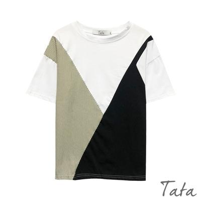 不對稱拼接花色落肩上衣 TATA-(M~XL)