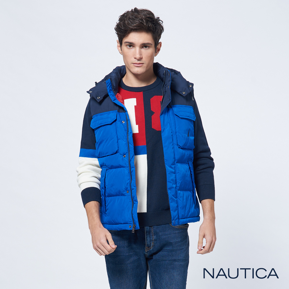 Nautica恆溫簡約科技羽絨背心-寶藍色