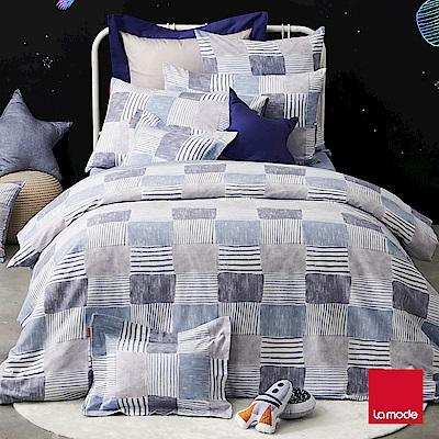 La Mode寢飾 移動迷宮環保印染100%精梳棉磨毛兩用被床包組(加大)