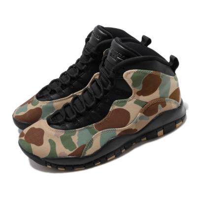 Nike 休閒鞋 Air Jordan 10代 高筒 男鞋 CAMO 迷彩 飛人喬丹 AJ10 咖啡 黑 310805200