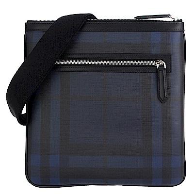 BURBERRY 黑藍色格紋防水材質皮飾邊斜背包