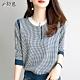 初色  時尚圓領格子針織衫-共2色-(M-2XL可選) product thumbnail 1