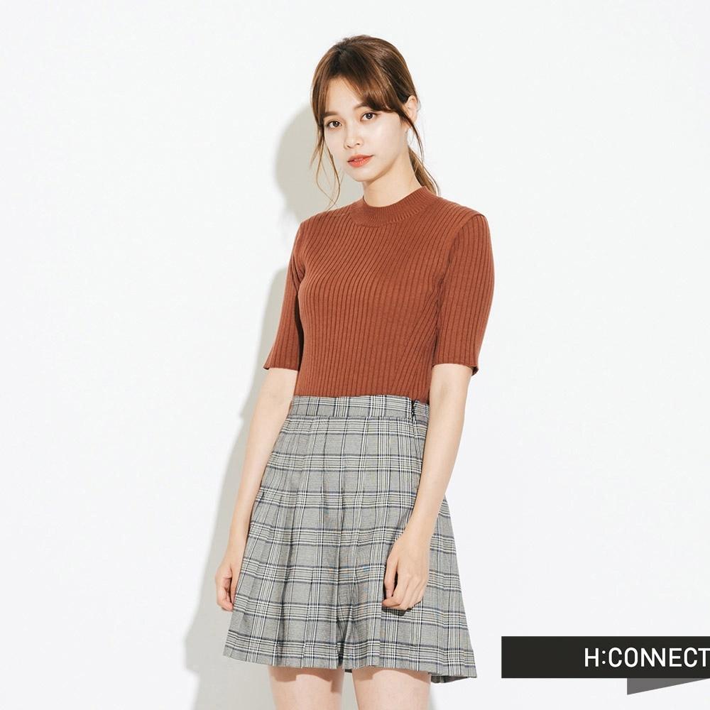 H:CONNECT 韓國品牌 女裝-羅紋針織短袖上衣-棕