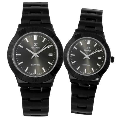 SIGMA 簡約藍寶石時尚手錶對錶-黑/34/37mm