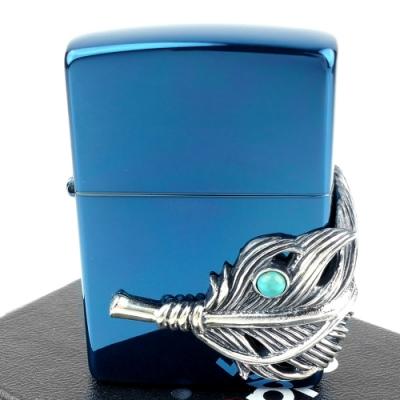 ZIPPO 日系~老鷹羽毛-綠松石鑲嵌立體金屬貼飾打火機(藍色款)