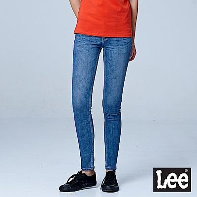 Lee 402超低腰緊身窄管牛仔褲-中藍色