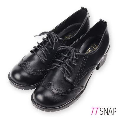 TTSNAP文青訂製款-雕花綁帶中跟紳士鞋 黑