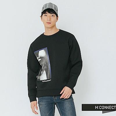 H:CONNECT 韓國品牌 男裝-膠印圖像個性上衣-黑