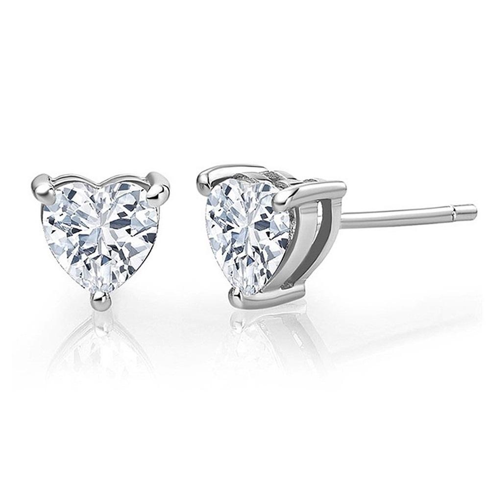米蘭精品 925純銀耳環-三爪愛心鑲鑽耳環