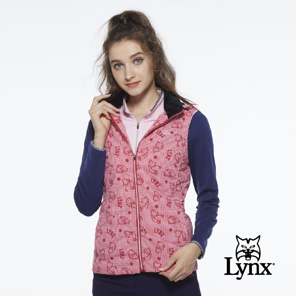 【Lynx Golf】女款滿版可愛貓印花隱形拉鍊連帽可拆式無袖背心-紅格