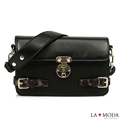 La Moda 時尚經典設計 大釦飾綴飾質感肩背醫生包小方包(黑)