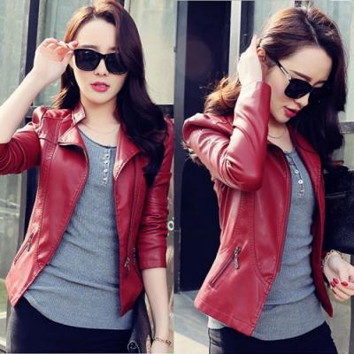 【韓國K.W.】美式風格合身尺寸皮衣外套-2色