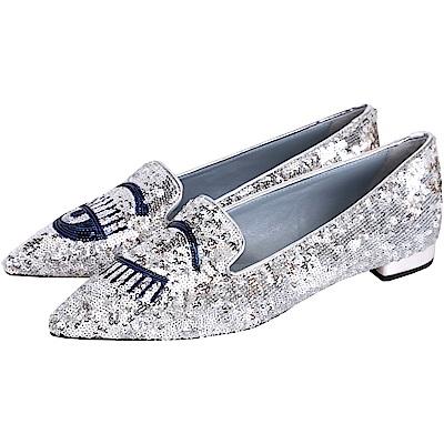 Chiara Ferragni Flirting 銀眨眼圖案縫製亮片尖頭鞋(展示品)