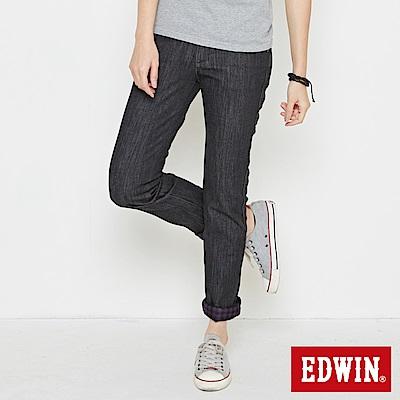 【EDWIN】MISS EDWIN 內襯拼格伸縮直筒保溫褲-女款(黑色)