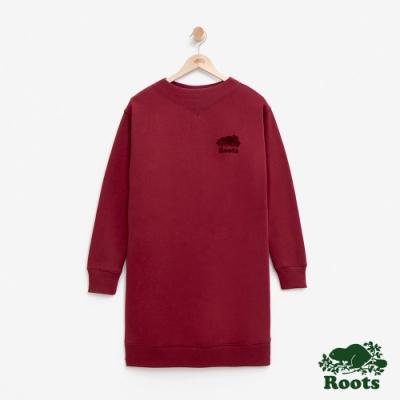 ROOTS 女裝- 微高領毛圈布洋裝-紅