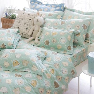 OLIVIA  寶貝熊 綠 標準單人床包兩用被套三件組  200織精梳純棉 台灣製