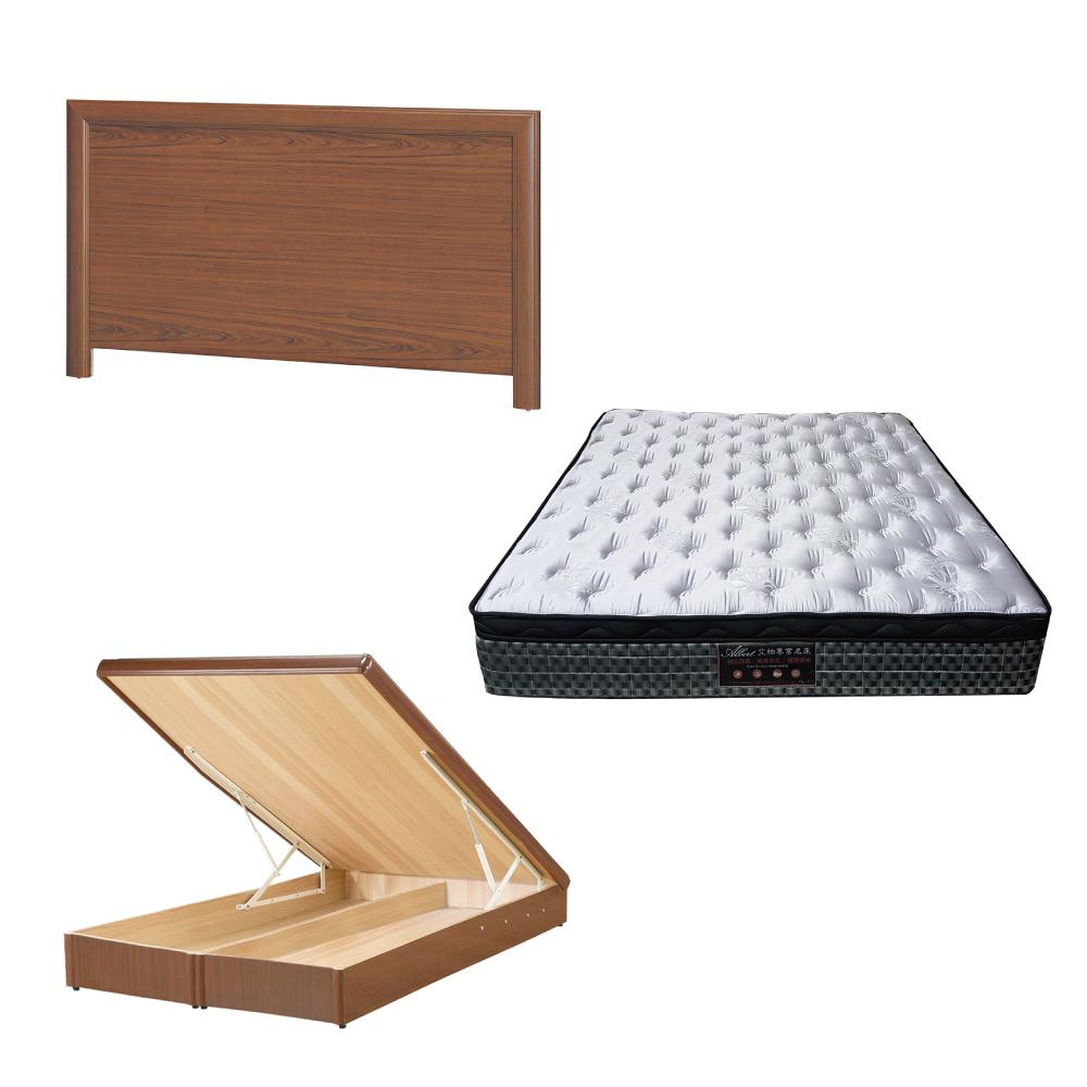綠活居 羅多6尺雙人加大床台三式組合(床頭片+後掀床底+抗菌天絲彈簧床墊)五色可選