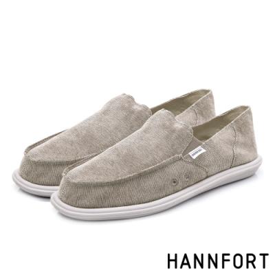 HANNFORT COZY可機洗平織布後踩氣墊鞋-男-可可