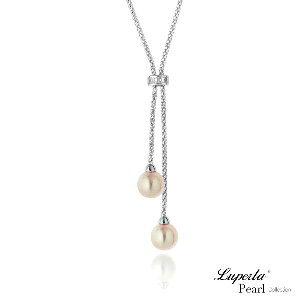 大東山珠寶 純銀晶鑽天然珍珠項鍊鎖骨Y字鍊  時尚女王 櫻粉限定版