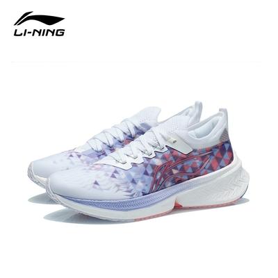 LI-NING 李寧 飛電Discovery女子反光一體織支撐穩定競速跑鞋 標準白/蒼鷺藍 ARMR006-8