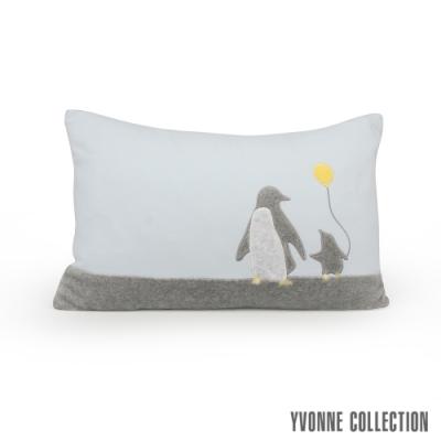 Yvonne Collection 親子企鵝方形抱枕(30x45cm)-嬰兒藍