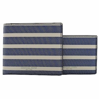 MICHAEL KORS GRANT附活動卡夾八卡短夾(藍白條紋)
