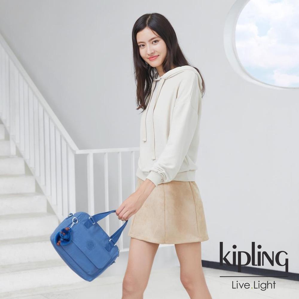 Kipling 優雅天穹藍翻蓋手提側背包-ZEVA