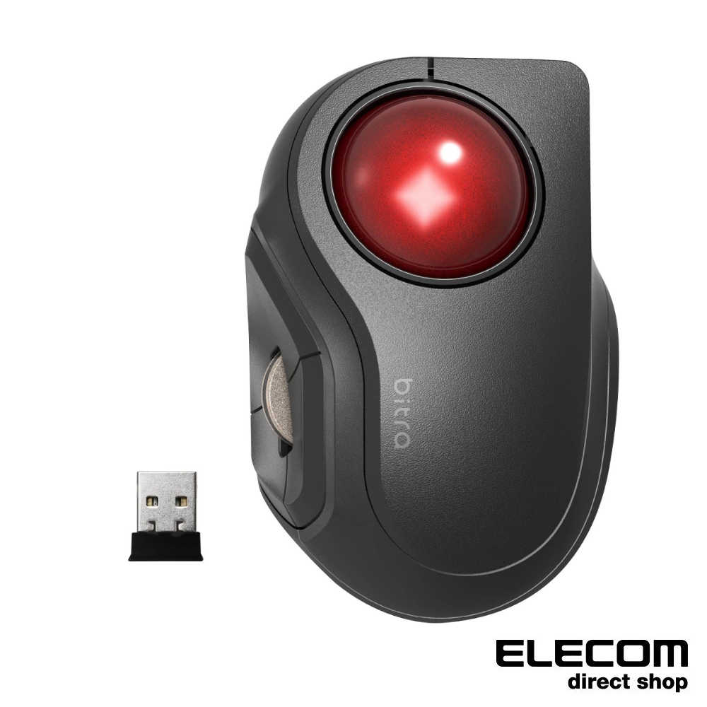 ELECOM bitra可攜式無線靜音軌跡球滑鼠(食指)-無線2.4GHz USB