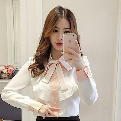 DABI 韓系優雅淑女蝴蝶結系帶拼色襯衫襯衣長袖上衣