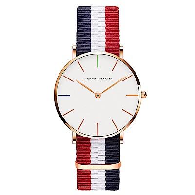 HANNAH MARTIN 彩色刻度紅藍帶腕錶-白x36mm(HM3690-B36-F4)
