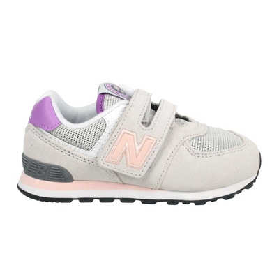 NEWBALANCE 女小童休閒運動鞋-WIDE-574系列 N字鞋 NB IV574HZ1 淺灰粉橘