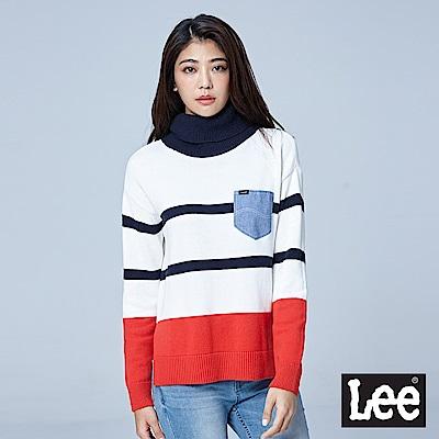 Lee 條紋小口袋長袖高領毛衣/RG