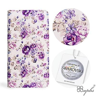 apbs iPhone XR 6.1吋施華水晶鑽皮套-紫薔薇