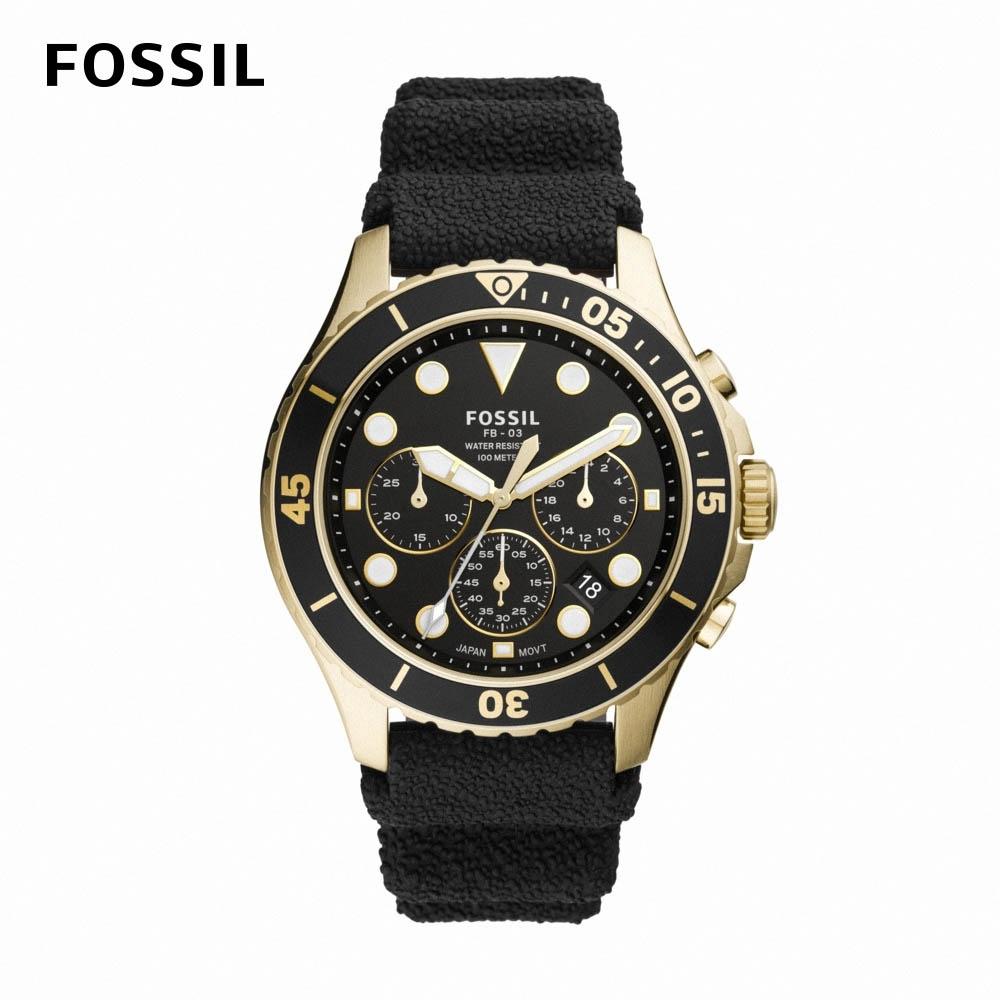 FOSSIL FB - 03 三眼計時潛水男錶 黑色矽膠錶帶 46MM FS5729