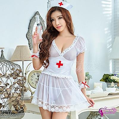 Sexy Cynthia性感誘人寶貝五件式護士服-白F