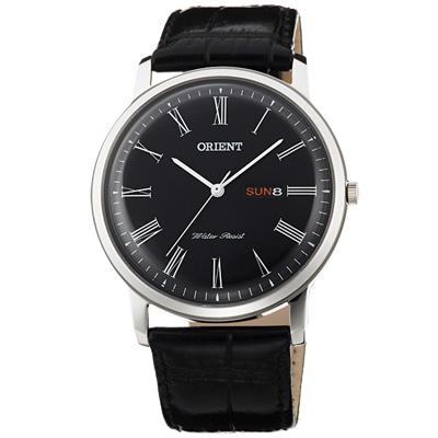 ORIENT東方羅馬時標時尚真皮手錶-黑/40mm