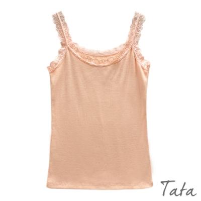 蕾絲飾邊修身針織背心 共三色 TATA-F
