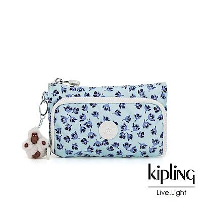 Kipling 典雅淡藍小花雙層收納化妝包-CUTEUMS