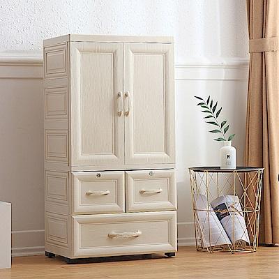【Mr.box】鄉村風歐式雙開門兒童吊掛衣櫃(2小+1大抽屜)