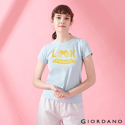 GIORDANO 女裝棉質圓領標語印花T恤-   36 酷藍
