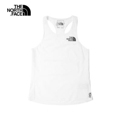 The North Face北面女款白色吸濕排汗LOGO印花背心|538NFN4