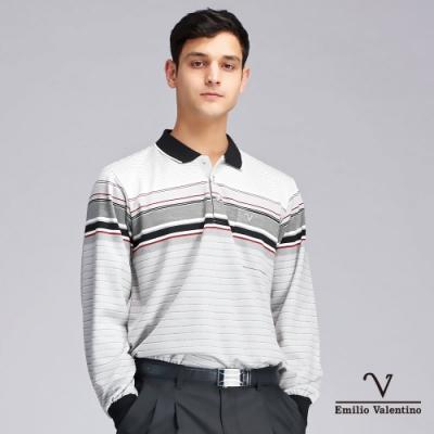 Emilio Valentino范倫鐵諾英倫風尚雅緻橫紋POLO衫_灰白(15-9V2953)