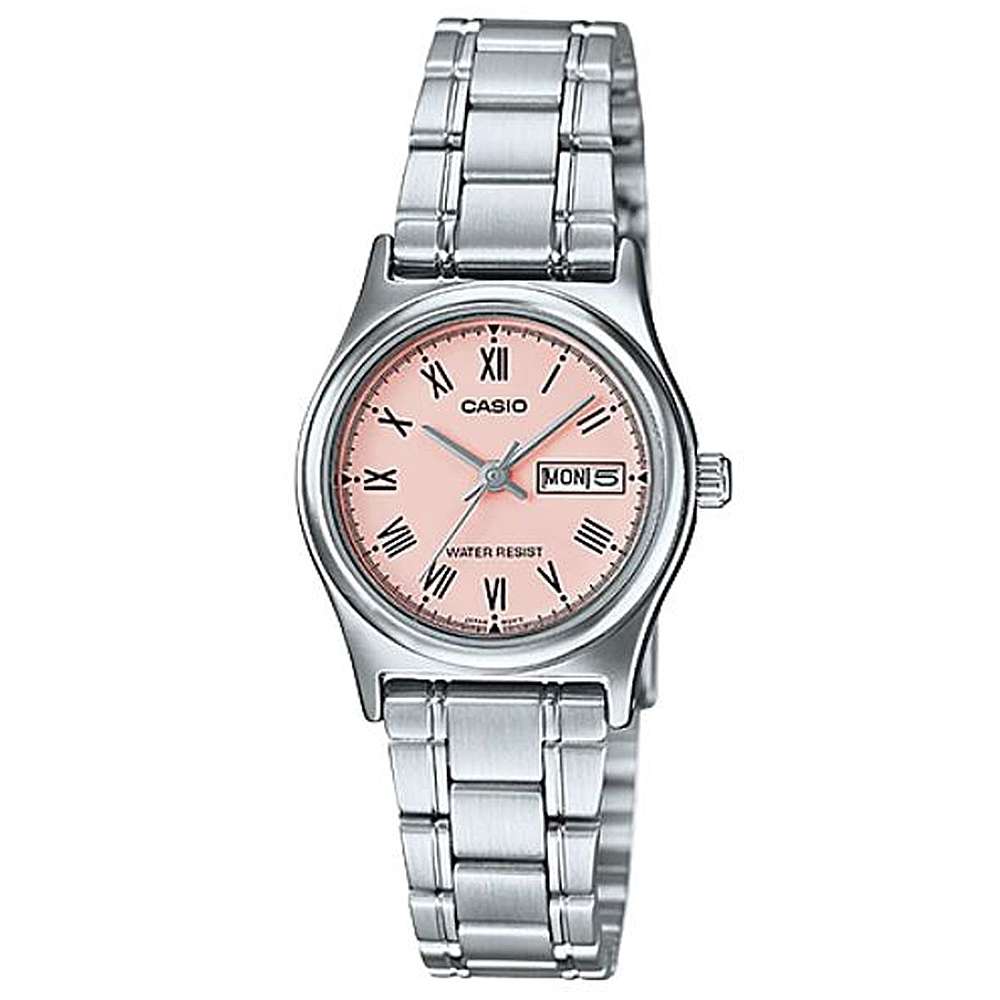 CASIO 時尚簡約日期顯示羅馬時刻不鏽鋼腕錶-粉(LTP-V006D-4B)/25mm