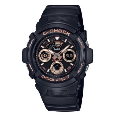 CASIO 卡西歐G-SHOCK三眼雙顯休閒腕錶-黑金(AW-591GBX-1A4)