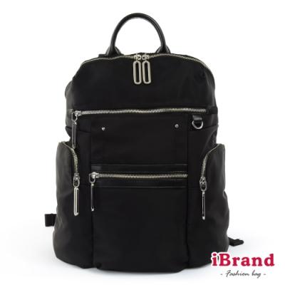 iBrand後背包 簡約真皮多功能尼龍後背包-黑色