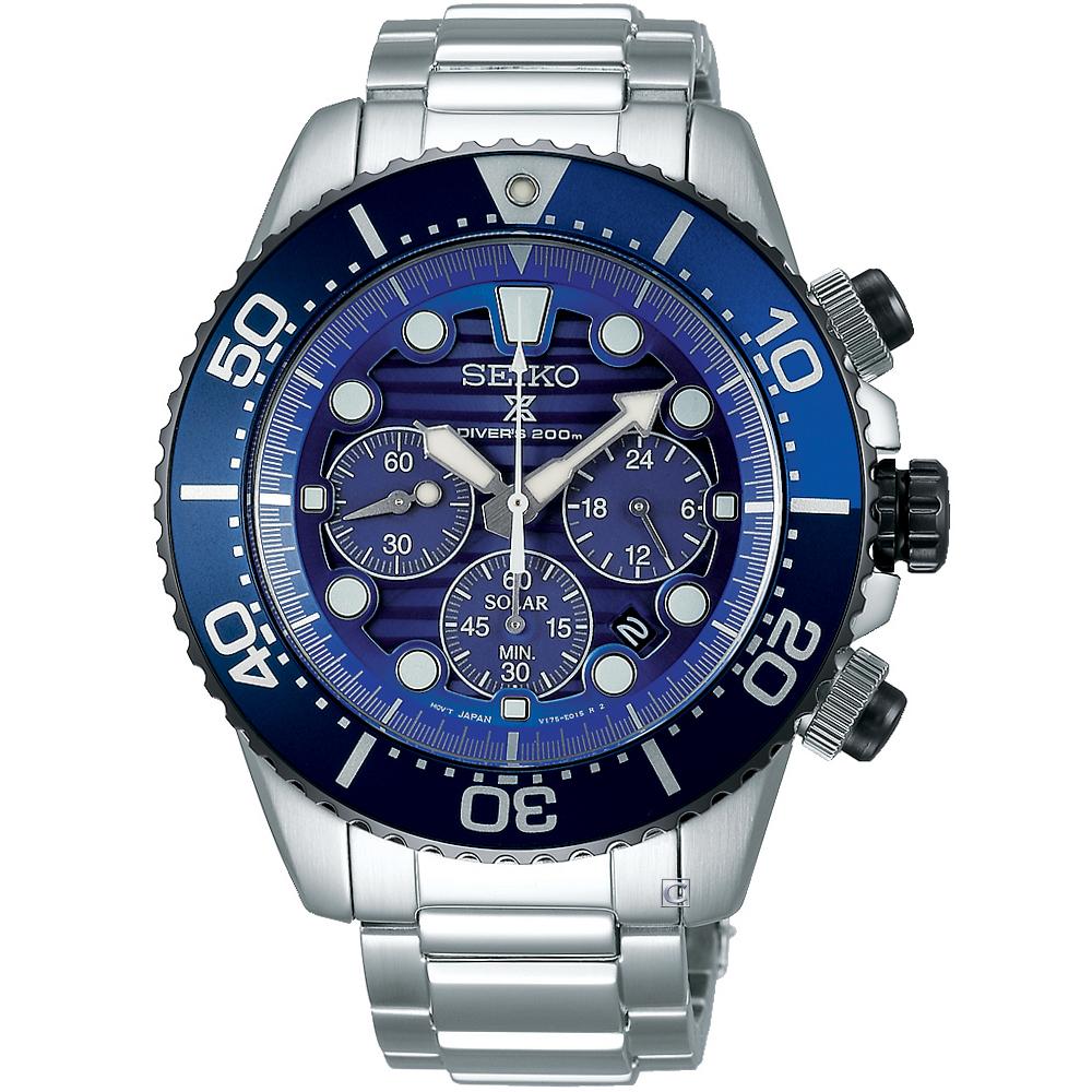 SEIKO PROSPEX 太陽能潛水錶(SSC675P1)藍/43mm