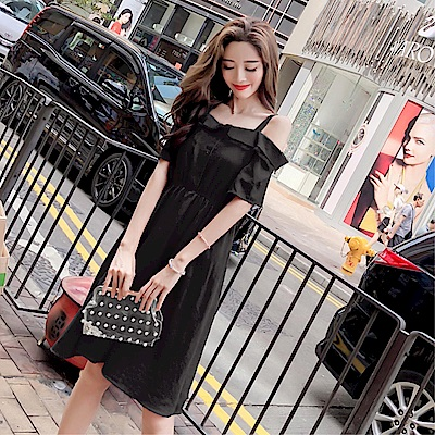 DABI 韓系一字領顯瘦雪紡甜美短袖洋裝